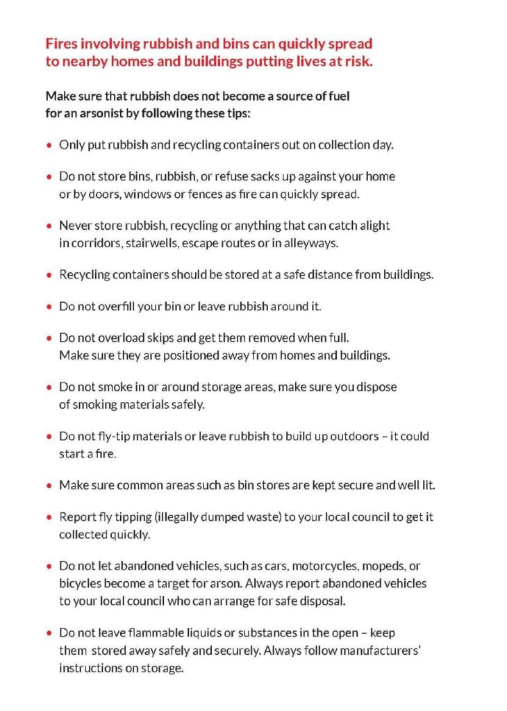 Fire service announcement- fire in bins