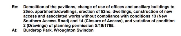 Application for Burderop Park, Swindon