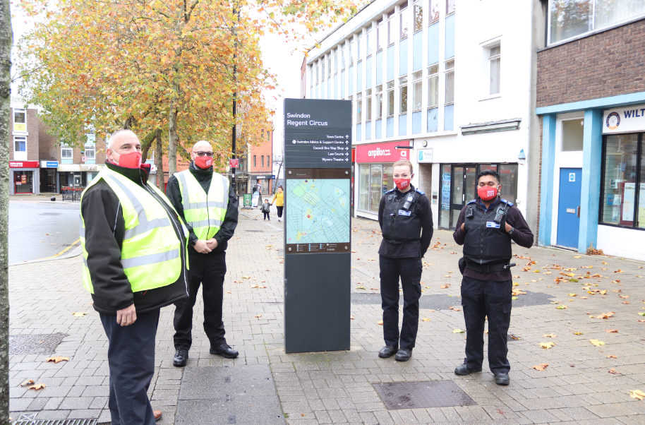 Swindon's covid safety marshals and Police Community Support Officers (PCSOs)