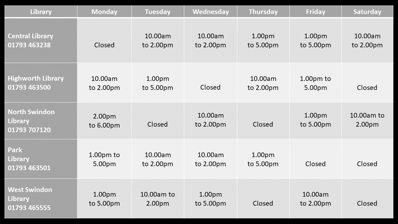 Swindon Libraries opening times poster