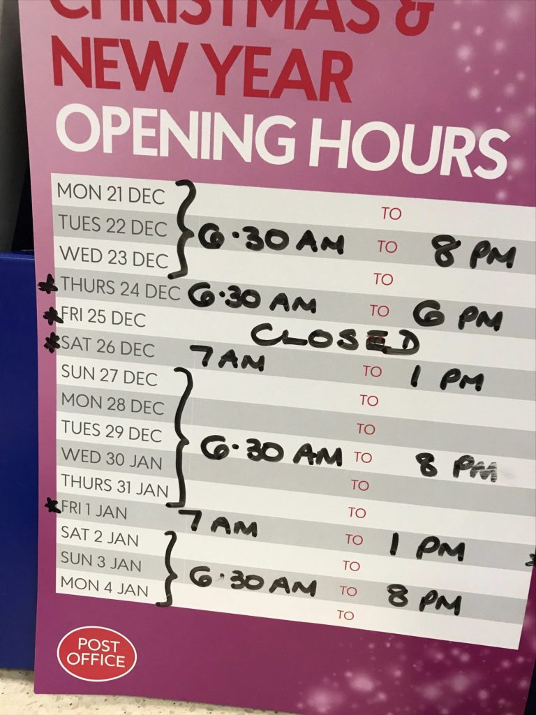 Spar shop Christmas opening times