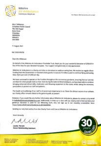 Wilts air ambulance letter