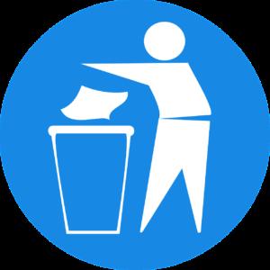 Litter in bin icon